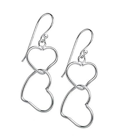 Gluckliy Frauen Doppelte Herz Baumeln Tropfen Ohrring Geschenk (Bead Tropfen Baumeln Ohrringe)