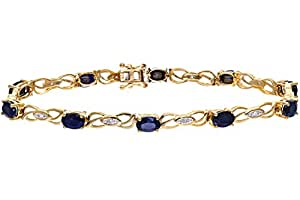 Naava Women's 0.05 ct Diamond with Sapphire Prong Setting Bracelet in 9 ct Yellow Gold