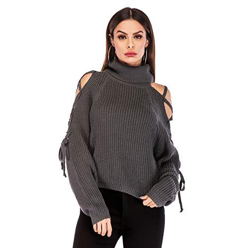 FWJ-clothes Damen Winter Rollkragen Strickpullover Top Pullover Casual Off-Shoulder Loose Chunky Strickwaren im Urlaub oder bei der Arbeit zu tragen,Grau,S - Chunky Knit Rollkragen