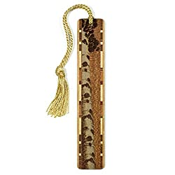 Aspen Tree - Botanical - Engraved Wooden Bookmark on Sapele with Tassel