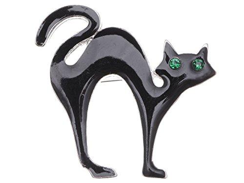 Alilang Silber Smaragd Farbige Strass Schwarz Allerheiligen Spooky Katze Brosche (Kostüm Schmuck Broschen Großhandel)