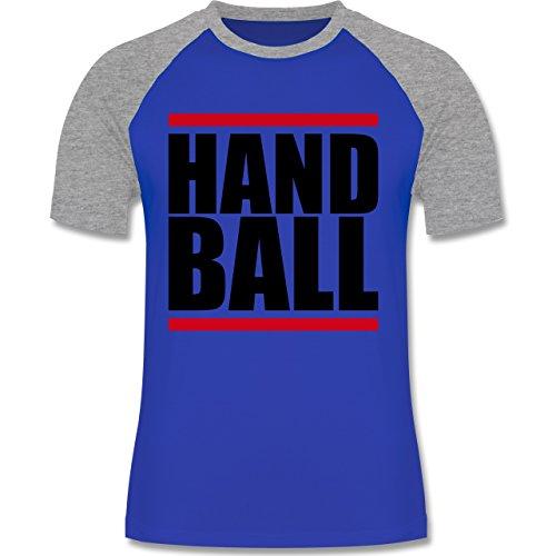 Handball - Handball Balken - zweifarbiges Baseballshirt für Männer Royalblau/Grau meliert