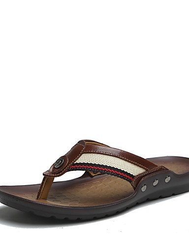 NTX/Herren Schuhe Outdoor/Casual Nappa Leder/Stoff Sandalen/Flip Flops, Schwarz/Braun/Orange brown-us8.5-9 / eu41 / uk7.5-8 / cn42