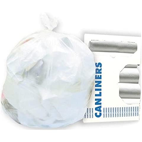 Waste Can Liners, 7-10 gal, 24 x 24, 6 mic, Natural, 50 Bags/Roll, 20 Rolls/Ctn