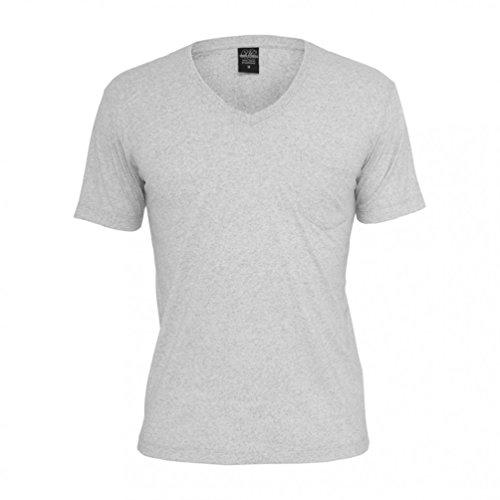 Urban Classics Herren T-Shirt Melange V-Neck Pocket Tee Navy