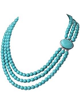 TreasureBay 3-fach 8 mm Türkis-Edelstein Perlen-Halskette, Lieferung in schöner Geschenkbox