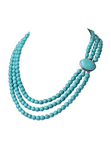 TreasureBay 3-fach 8 mm Türkis-Edelstein Perlen-Halskette, Lieferung in schöner Geschenkbox -