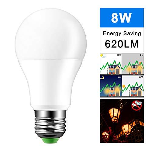 OurLeeme E27 Lichtsensor Glühbirne, 8W Dusk to Dawn 620LM Energiesparlampen für Eingang, Treppe, Garage, Hof (Orange)