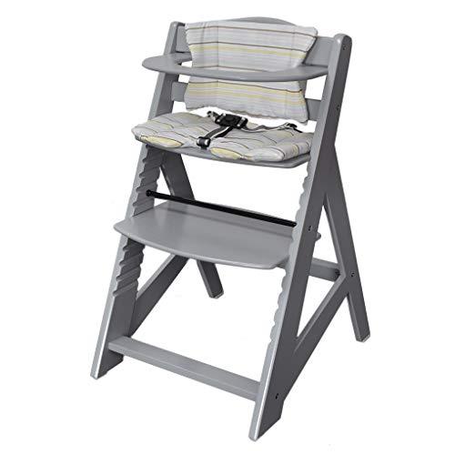 Tiggo Hochstuhl mitwachsend, Treppenhochstuhl, aus massivem Buchenholz, Kinderhochstuhl ab 6 Monaten bis 10 Jahre 2533-D03-GRAU
