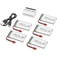 Ironheel 5pcs 3.7V 1200mAh 25C Lipo baterías con 6 en 1 Cargador USB Kit de Piezas de Repuesto de Accesorios para Syma X5HC X5HW RC Quadcopter Aviones no tripulados