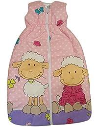"""DAS ORIGINAL BOMIO® Baby Winter-Schlafsack """"Schäfchen (Rosa)"""", Öko-Tex Standard 100, Größen von """"70 cm bis 110 cm"""""""