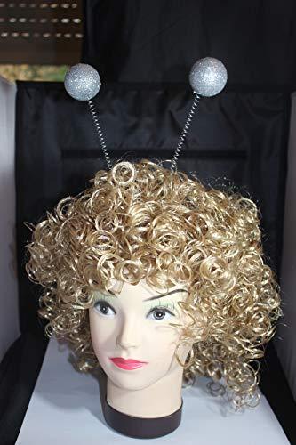 Kopfbügel mit Glitterkugeln Silber Haarreif (Kostüm Antenne)