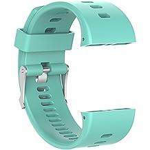 Correa de reloj de recambio–suave silicona hebilla de metal correa de hebilla de reloj muñeca reloj banda pulsera para polar V800GPS reloj deportivo con herramientas, color verde claro