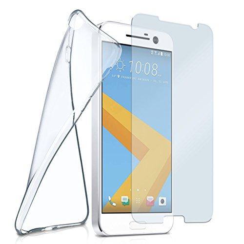 moex Silikon-Hülle für HTC 10 | + Panzerglas Set [360 Grad] Glas Schutz-Folie mit Back-Cover Transparent Handy-Hülle HTC One 10 Case Slim Schutzhülle Panzerfolie
