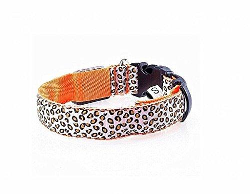 photovie wiederaufladbar Night LED-Beleuchtung Leopard Muster und langlebigem Nylon Kragen für die meisten Größe Hunde Orange