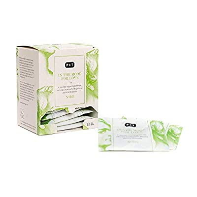 P & T In the Mood for Love, Premium Thé Vert Chinois Bio, Jasmin Yin Hao, 15 Sachets de Thé en Coton (45g / 1,6oz)