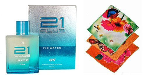 CFS Exotic 21 Club ICE Water Perfume 100ML + 3 Women Cotton Handkerchiefs  available at amazon for Rs.400