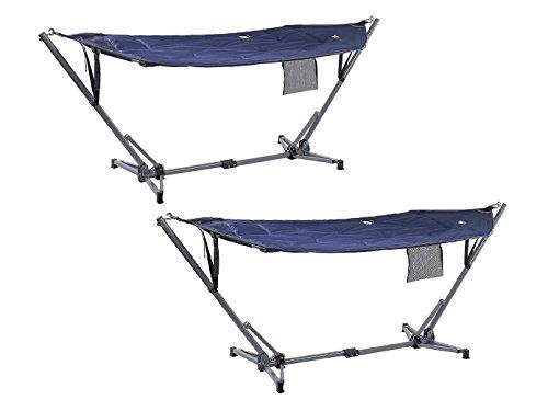 2er Set faltbare, wetterfeste Hängematten in blau mit Ständer und Tragetasche, Belastbarkeit: 150 kg