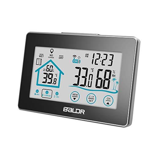 XMAGG® Igrometro Termometro Digitale, con LCD Schermo Tattile Orologio Retroilluminazione Previsioni Meteo Stazione Metereologica per Casa Ufficio