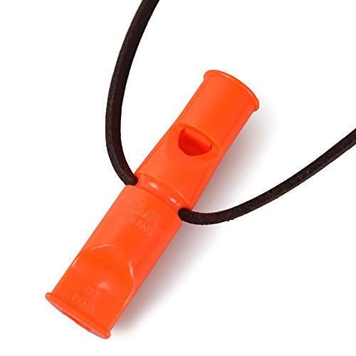 Acme Doppeltonpfeife No. 640/641 mit GRATIS Pfeifenband aus Leder (90mm (No. 640), DG Orange/Leuchtorange)