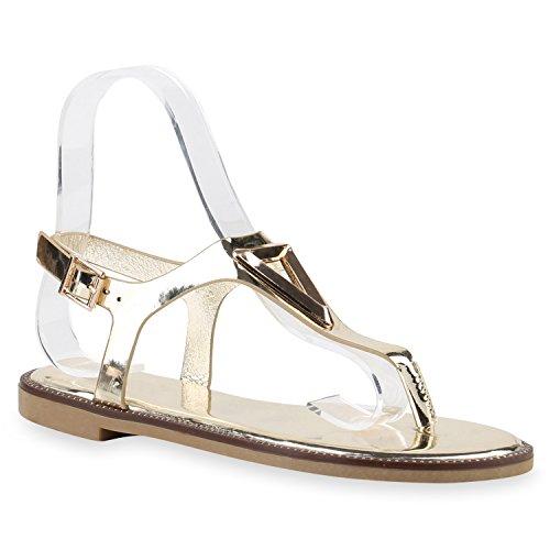 Damen Sandalen Zehentrenner Metallic Strass Flats Schuhe Gold Lack