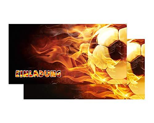 Friendly Fox Fussball Einladung - 12 Einladungskarten Fussball zum Kindergeburtstag Junge Mädchen inkl. Umschläge - Geburtstagseinladungen - Fußball Party Zubehör - ideal für jeden Fußball-Fan (Fußball-zubehör)