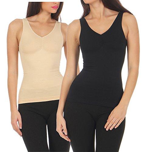 2er Pack Slim -Fit-Hemd Unterhemd Mieder Damenhemd Bauchweg Hemd figurformend Shap Ware CL 837 (52/54, Beige / Schwarz)