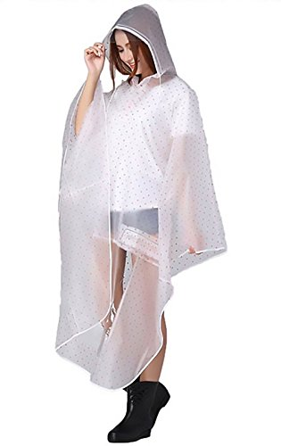 Donne Poncho Impermeabile con Cappuccio Manica Lunga di Polka Dots trasparente Raincoat Outdoor Equitazione Bicicletta auto elettrica Lunghi Rainwear Pioggia cape Mantello Porpora