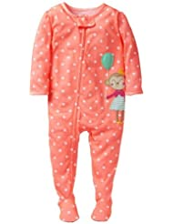 Carter's Little Girls' 1 Piece Dot Print Footie (Toddler) - Peach - 4T Color: Peach Size: 4T (Baby/Babe/Infant - Little ones)