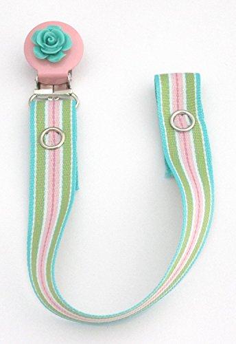 Preisvergleich Produktbild Schnullerhalter Clip für Jungen/Mädchen (Pink Blau Streifen-Rund clip-flower)