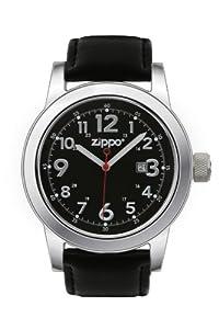 Zippo 45003 - Reloj analógico de cuarzo para hombre, correa de cuero color negro de Zippo