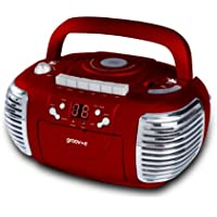 Groov-e Retro Boombox Portable CD Player with Cassette & Radio - Red