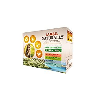 Iams Naturally Complete Land & Sea Collection Adult Cat Food Pouches, 12x85g 32