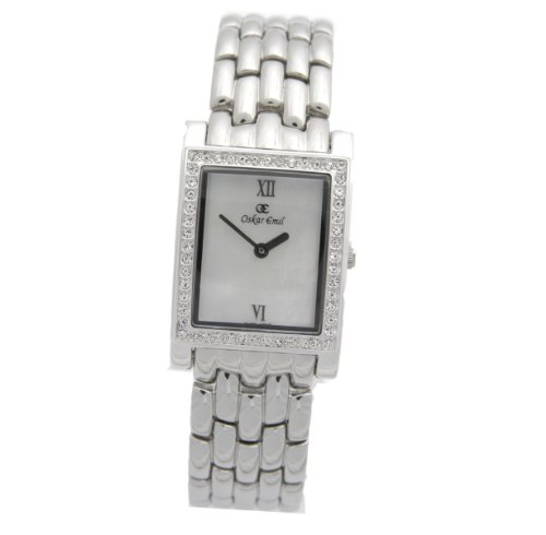 Oskar Emil Perugia Stainless Steel Gents Crystal Set Mother of Pearl Dress Watch