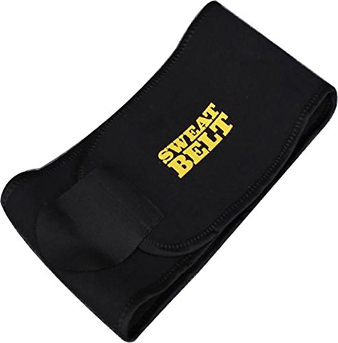 Sunshine Sweat Belt Premium Waist Trimmer, Sweat Waist Trimmer Fat Burner Belly Tummy Yoga Wrap Black Exercise Body Slimming Belt 3 for Men & Women Free Size, (Black)