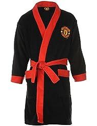 Oficial Manchester United balón de fútbol del Manchester United para MUFC albornoz para hombre albornoz de forro polar negro Junior 4-5 años