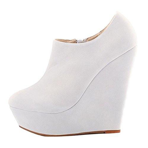 HooH Femmes Sexy Fanelle Wedge Escarpins Roma Boots Blanc