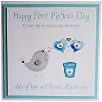 """HAPPY FIRST MOTHERS DAY"" CARD - Handmade Mothering Sunday greeting card for a new mum from new their new born. Personalised with the child's name. Mum, Mummy"