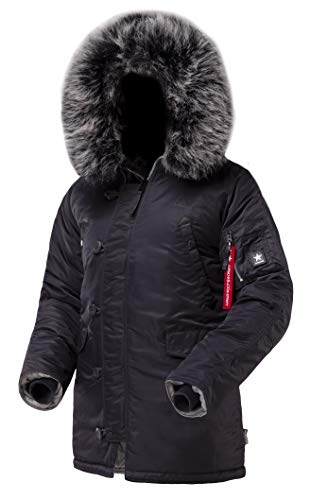AIRBOSS Herren Parka N-3B Winterparka Warmer Wintermantel mit Kapuze für kaltes Wetter (Slim Fit) - Grau - Groß N 3b Parka
