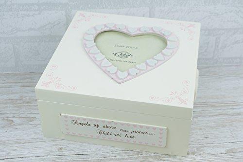 Pink Baby-Andenken Box Engel oben Foto Aufbewahrung von Global Designs - Andenken-foto-box