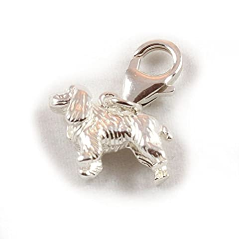 Sterling Silver Large Cocker Spaniel Dog Clip On Charm - With 11mm Clasp