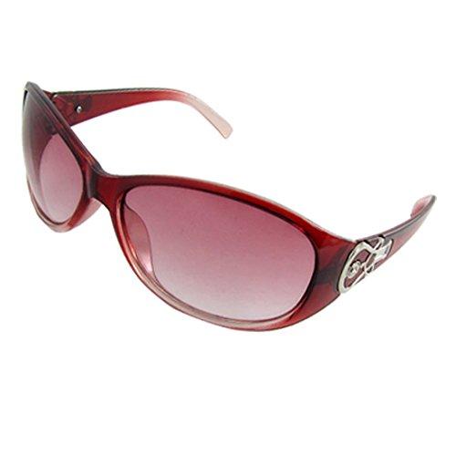 Damen purpurnen Fade Kunststoff Vollrand Oval Objektiv Sonnenbrillen