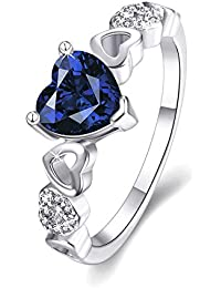 Via Mazzini Platinum Plated Midnight Blue Top Quality Swiss Zirconia Crystal Heart Ring for Women and Girls (Ring0206)
