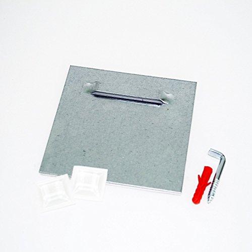 Klebeblech mit Winkelschraube (1 Stk.) inkl. Montageset, selbstklebend 10cm x 10cm | Spiegelaufhänger , Aufhängeblech , geeignet für Spiegel, Hartschaum-Platten und Alu-Verbundplatten
