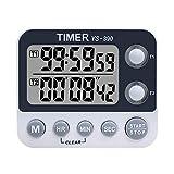 Xrexs - Doppio timer digitale da cucina, volume della sveglia regolabile, timer per cottura, cronometro, ampio display LED, conto normale e conto alla rovescia, timer lampeggiante per riunioni e lezioni, parte posteriore magnetica, batteria inclusa 2 groups timer