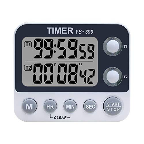 XREXS Digitaler Dual Küchentimer, Alarm Einstellbar Volumen Timer, Kochen Timer, Stoppuhr, Große LCD Anzeige Count Up Down Timer für Blinken Meeting Klasse, Magnetische RÜckseite, Batterien Enthalten