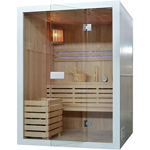 """Sauna\""""Maui-W Small\"""", Hemlock Holz, Sauna, Wärmekabine, Heimsauna, Saunakabine, Harvia Saunaofen, Weiss"""