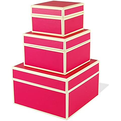 Set of 3 rectangular boxes pink, large +++ STORAGE- or GIFT BOXES +++ Quality made by Semikolon
