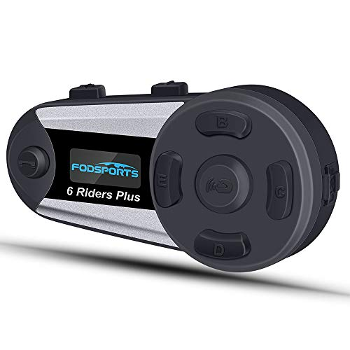 Intercom Moto Bluetooth Helmet Interphone Kit Main Libre, Ecran LCD, Radio FM, Autonomie Longue 18 H, Indicateur de Charge, Connexion 4 à 6 utilisateurs avec...