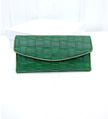 Warmman Exquisite Extra Card Holder Portemonnaie Frauen PU Leder Trifold Lattice Wallet, PU-Leder, grün, 19*10*3cm (Grün Wallet Tri-fold)